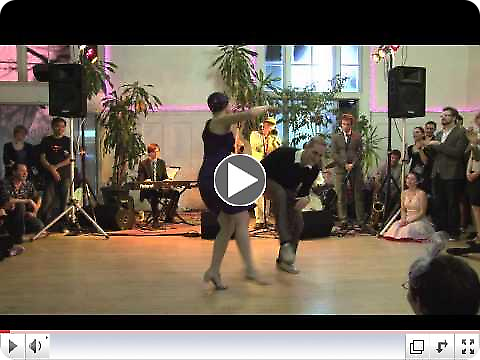 Skye Humphries and Naomi Uyama performing at Uptown Swing Dance with the Gordon Webster Band